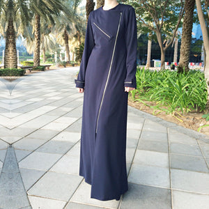 Zippers Jersey Abaya - Navy Blue-Abaya-Lana Lik Clothing