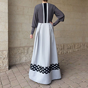 Crystals Criss-Cross Abaya - Light Grey, Dark Grey-Abaya-Lana Lik Clothing