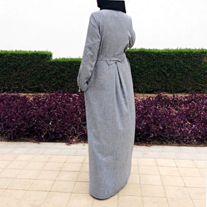 Quilted Abaya - Grey-Abaya-Lana Lik Clothing