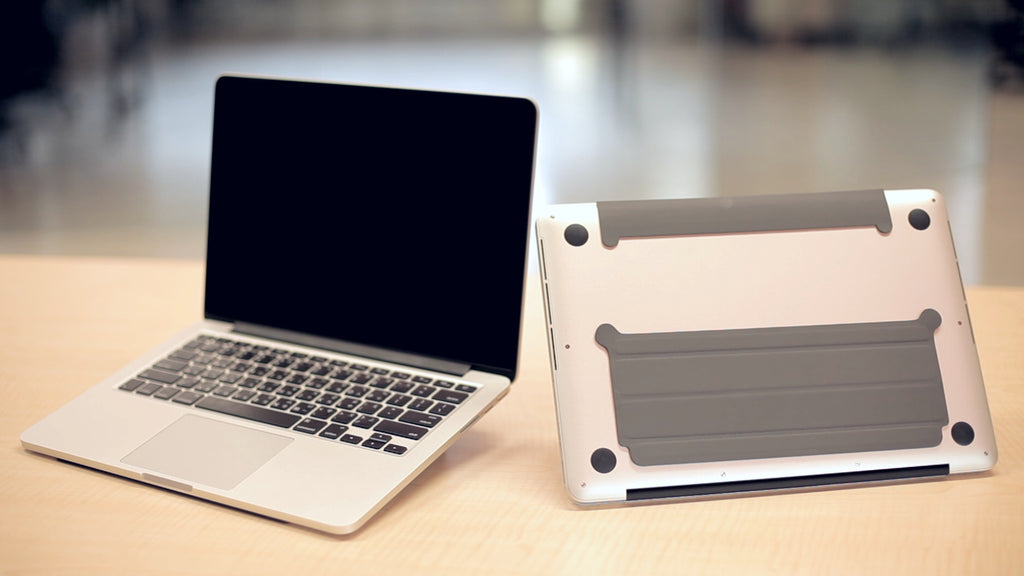 "iStand - An ultra thin portable stand for all types of 13 "" & 15"" MacBooks!"