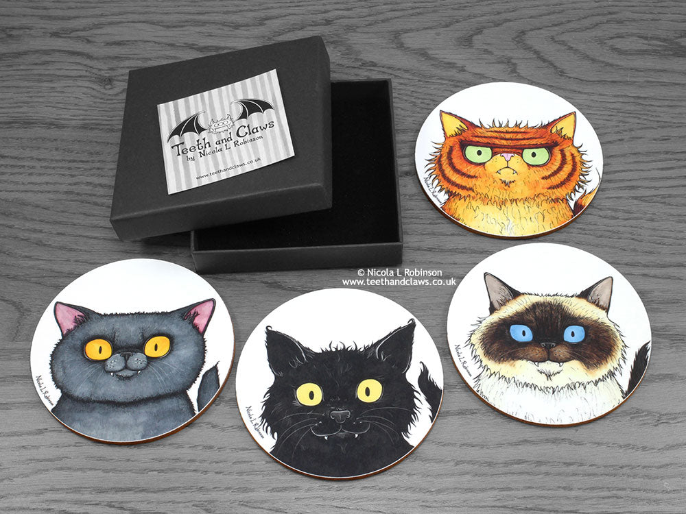 Cat Coasters for cat lovers © Nicola L Robinson | Teeth and Claws