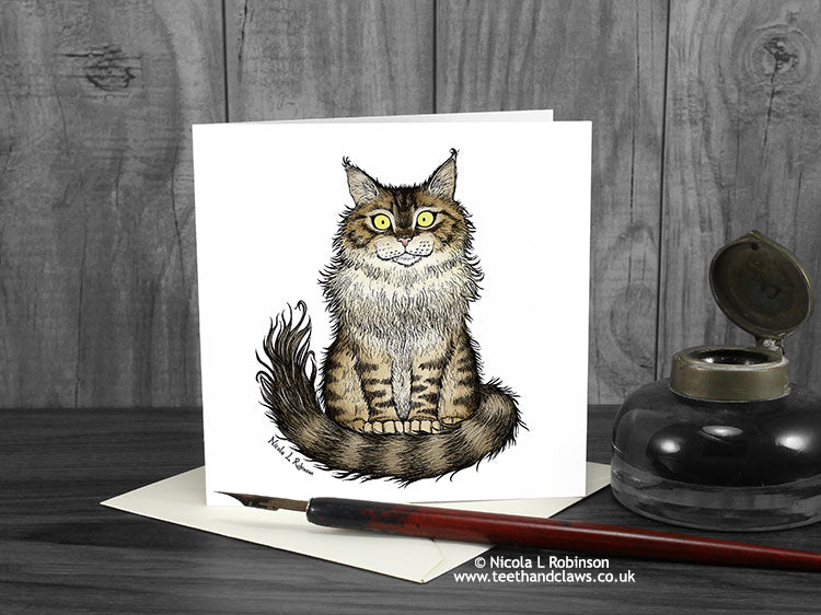 Ginger Persian Cat Card © Nicola L Robinson | Teeth and Claws