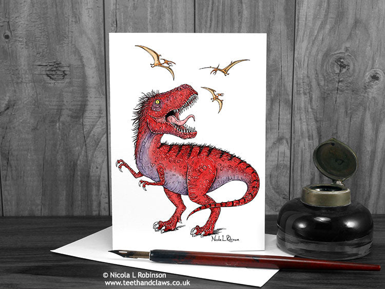 T rex greeting card © Nicola L Robinson | Teeth and Claws www.teethandclaws.co.uk