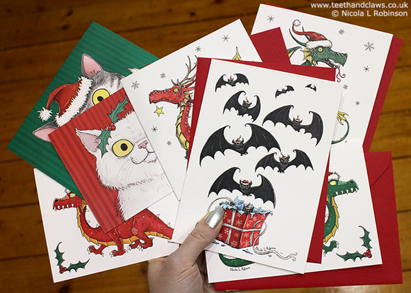 Alternative Christmas Cards - Dragons, Cats and Gothic Bats - © Nicola L Robinson www.teethandclaws.co.uk