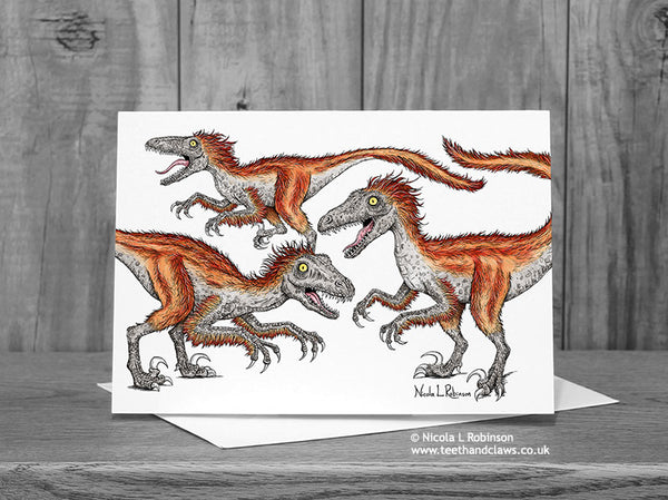 Deinonychus Dinosaur Greeting Card © Nicola L Robinson  | Teeth and Claws