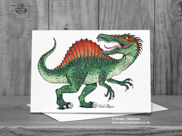 Spinosaurus Dinosaur Greeting Card © Nicola L Robinson  | Teeth and Claws
