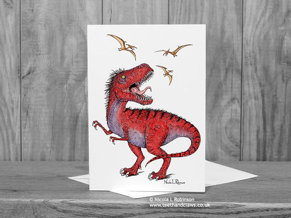 T Rex Dinosaur Greeting Card © Nicola L Robinson  | Teeth and Claws