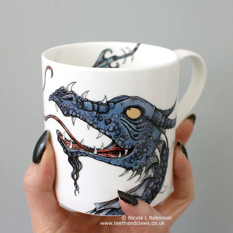 Dragon Mugs. Dragon gifts UK by Nicola L Robinson www.teethandclaws.co.uk English Fine Bone China Dragon Mugs now in stock