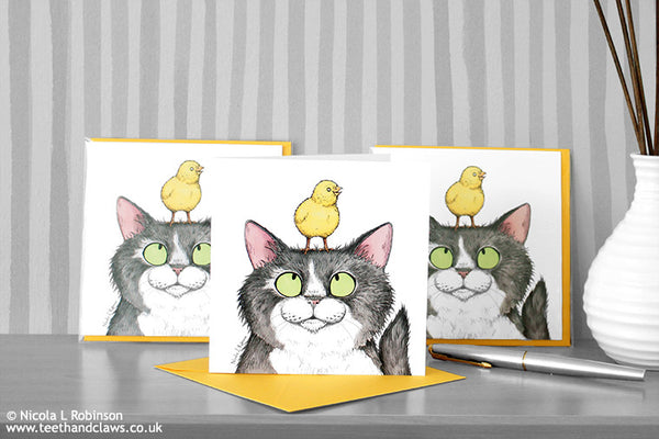 Cat and Chick Easter Cards by Nicola L Robinson