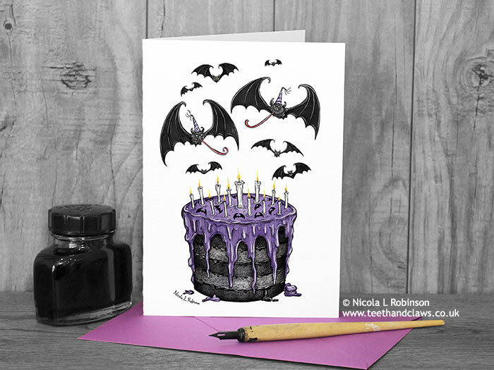 Gothic Bat Birthday Card © Nicola_L_Robinson