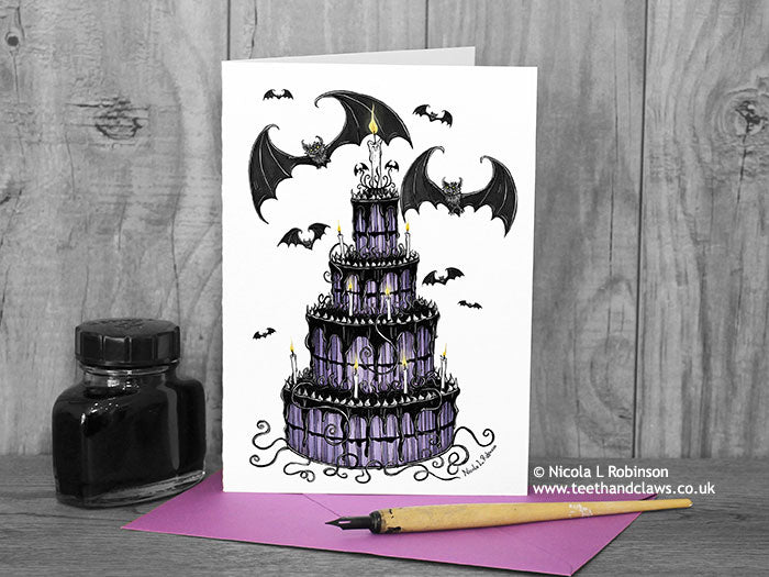 Gothic Bat Wedding Card © Nicola_L_Robinson