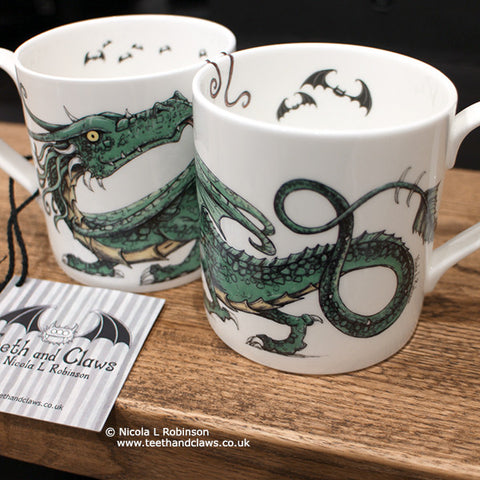 Dragon Mug Dragon Gifts UK by Nicola L Robinson www.teethandclaws.co.uk English Fine Bone China Dragon Mugs