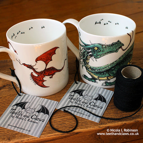 Dragon Mugs Fathers Day Gifts © Nicola L Robinson www.teethandclaws.co.uk