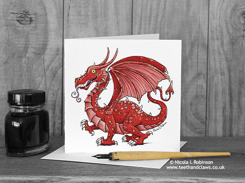Welsh Dragon Card © Nicola L Robinson | Teeth and Claws