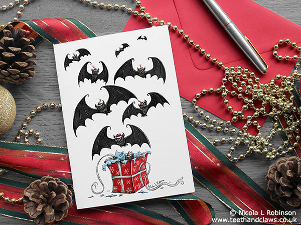 Gothic Christmas Card - Bat Christmas Card © Nicola L Robinson www.teethandclaws.co.uk