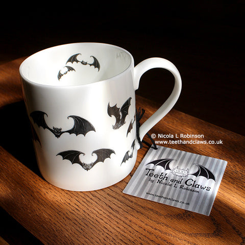 Bat Mug. Gothic Bat gifts UK by Nicola L Robinson www.teethandclaws.co.uk English Fine Bone China, Unique Gift.