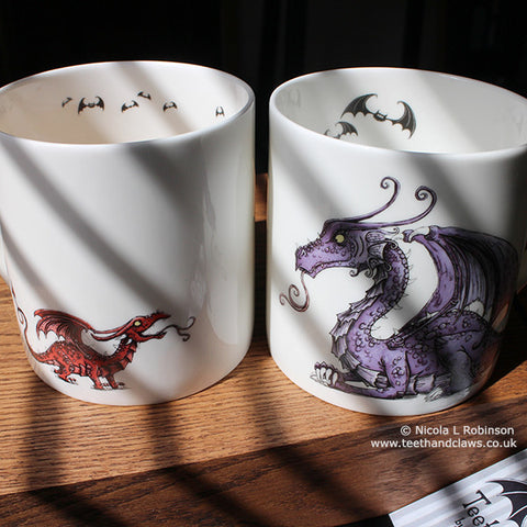 Dragon Mugs Dragon Gifts UK by Nicola L Robinson www.teethandclaws.co.uk Dragon Mother Mug Baby Dragon Mug