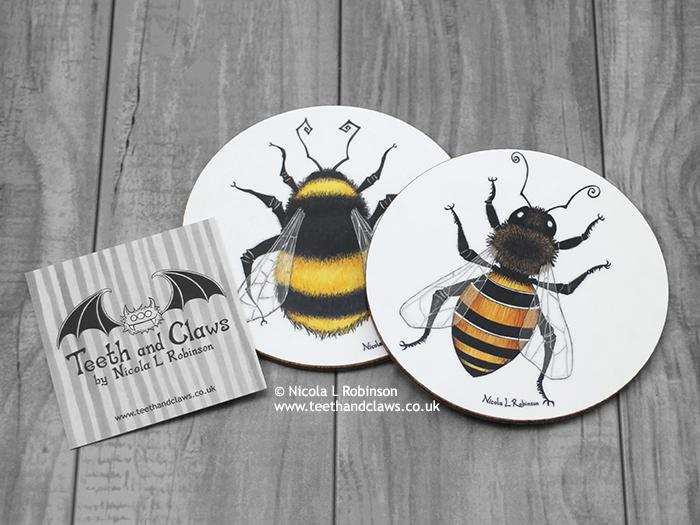 Bee Coaster - Honey bee © Nicola L Robinson | Teeth and Claws