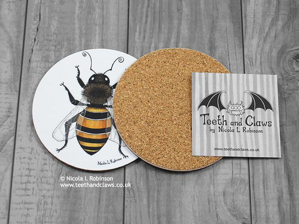 Honey bee coasters © Nicola L Robinson all rights reserved. www.teethandclaws.co.uk Bee decor, bee gifts