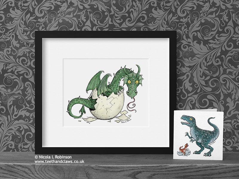 Green Baby Dragon Decor Art Print © Nicola L Robinson | Teeth and Claws www.teethandclaws.co.uk