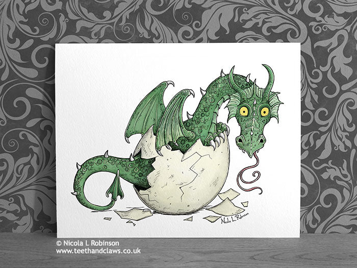 Green Baby Dragon Art Print © Nicola L Robinson | Teeth and Claws www.teethandclaws.co.uk