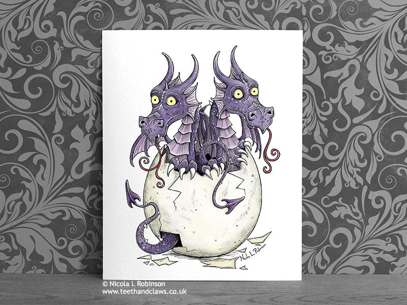 Twin Baby Purple Dragons- Nursery Decor Gift for twins © Nicola L Robinson | Teeth and Claws www.teethandclaws.co.uk