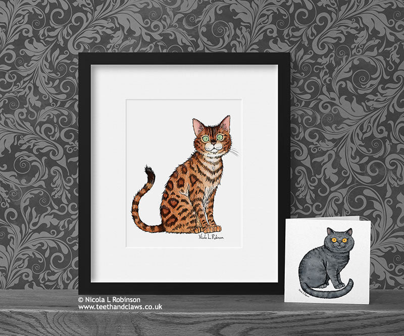 Bengal Cat Decor Gift Art Print © Nicola L Robinson | Teeth and Claws www.teethandclaws.co.uk