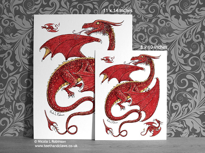 Red Flying Dragon Art Print Dragon Decor © Nicola L Robinson | Teeth and Claws www.teethandclaws.co.uk