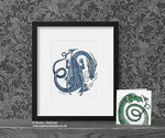 Blue Dancing Dragon Art Print  Dragon Decor© Nicola L Robinson | Teeth and Claws www.teethandclaws.co.uk