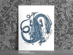 Blue Dancing Dragon Art Print © Nicola L Robinson | Teeth and Claws www.teethandclaws.co.uk