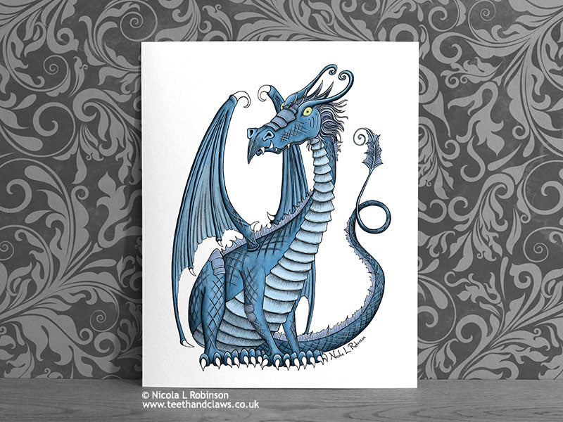 Dragon Art Decor Print - Blue Dragon © Nicola L Robinson | Teeth and Claws www.teethandclaws.co.uk