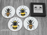 Bee coasters © Nicola L Robinson all rights reserved. www.teethandclaws.co.uk Honey Bees, Bumble Bees, bee decor, bee gifts