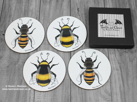 Bee Coasters - Drink Coasters - Set of 4