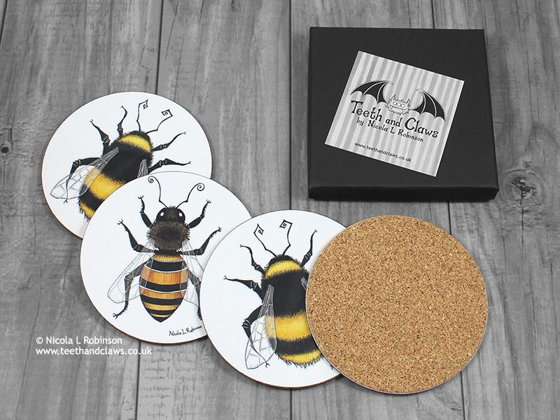 Bee Coasters - Drink Coasters - Set of 4 © Nicola L Robinson | Teeth and Claws
