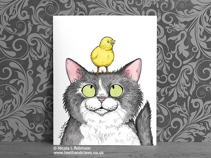Cat and Chick Art Print - Cat Decor Gift © Nicola L Robinson | Teeth and Claws www.teethandclaws.co.uk