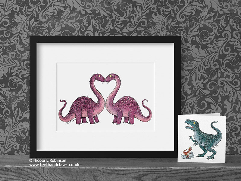 Dinosaur Love Print - Diplodocus © Nicola L Robinson | Teeth and Claws www.teethandclaws.co.uk