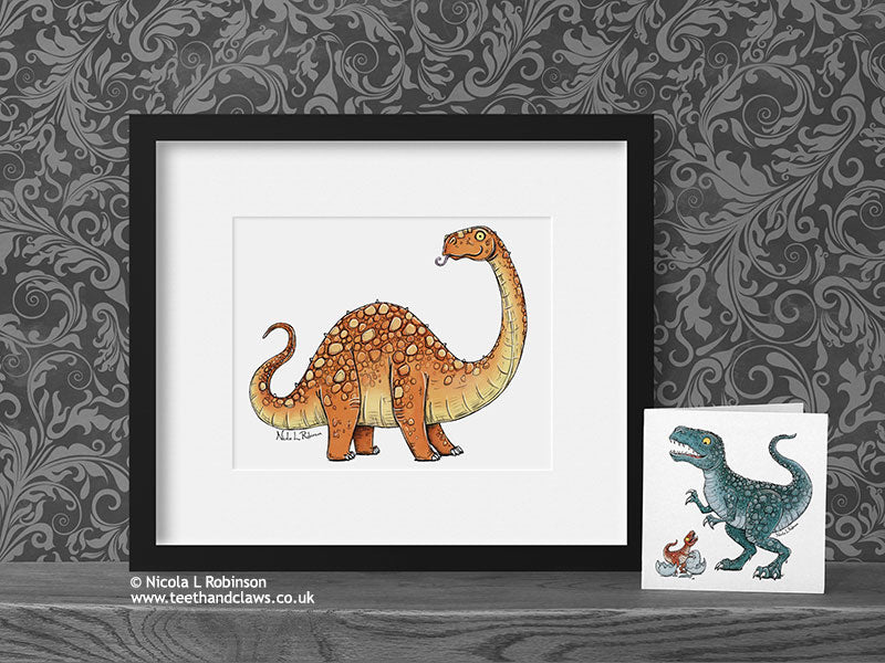 Diplodocus - Dinosaur Art Print - © Nicola L Robinson | Teeth and Claws www.teethandclaws.co.uk