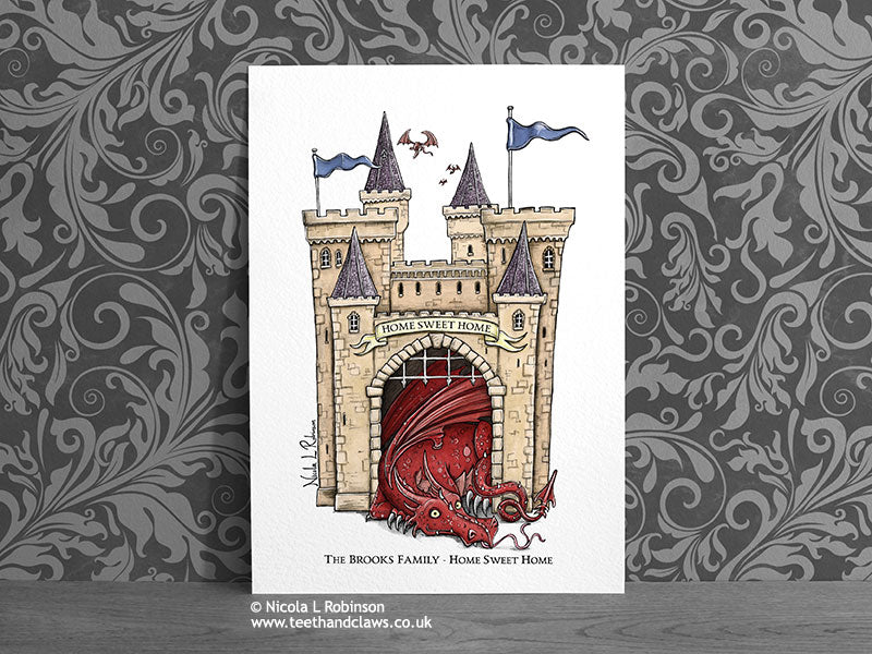 Personalised New Home Print - Dragon Castle © Nicola L Robinson | Teeth and Claws www.teethandclaws.co.uk