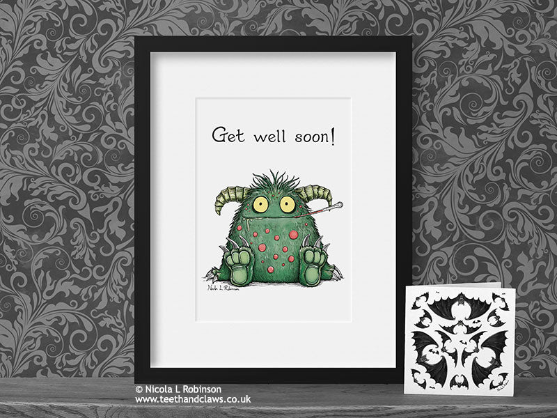 Get Well Soon Monster Art Print © Nicola L Robinson | Teeth and Claws www.teethandclaws.co.uk