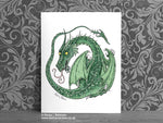 Green Nursery Dragon Art Print © Nicola L Robinson | Teeth and Claws www.teethandclaws.co.uk