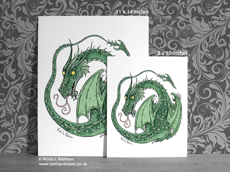 Green Nursery Dragon Art Print Dragon Decor © Nicola L Robinson | Teeth and Claws www.teethandclaws.co.uk