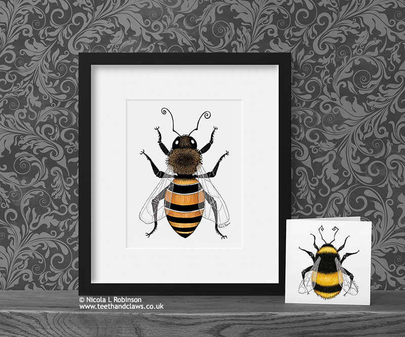 Honey Bee Art Print © Nicola L Robinson | Teeth and Claws www.teethandclaws.co.uk