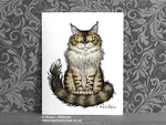 Maine Coon Cat Art Print - Cat Decor Gift © Nicola L Robinson | Teeth and Claws www.teethandclaws.co.uk