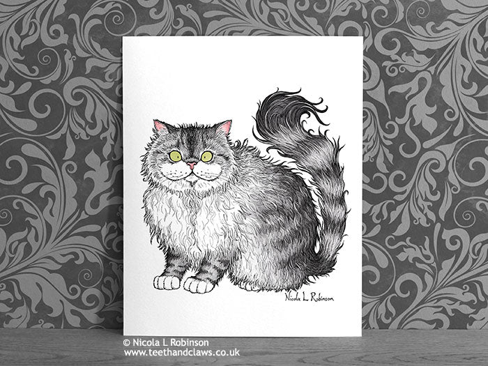 Grey Persian Cat Art Print - Cat Decor Gift © Nicola L Robinson | Teeth and Claws www.teethandclaws.co.uk