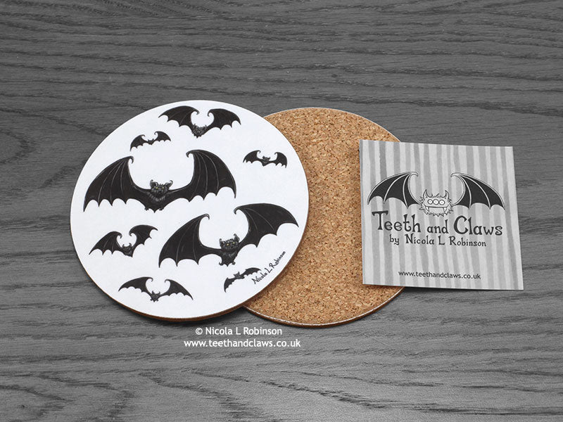 Bats Drink Coaster © Nicola L Robinson www.teethandclaws.co.uk Gift barware