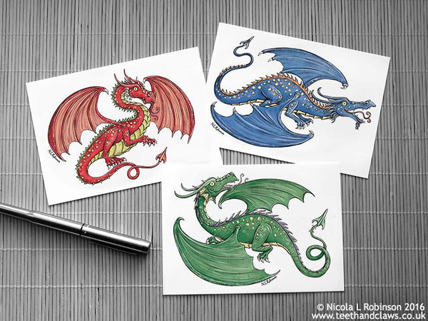 Dragon Postcards © Nicola L Robinson 2016 www.teethandclaws.co.uk