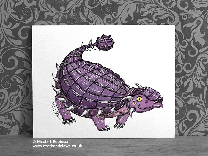 Purple Ankylosaurus - Dinosaur Art Print - © Nicola L Robinson | Teeth and Claws www.teethandclaws.co.uk