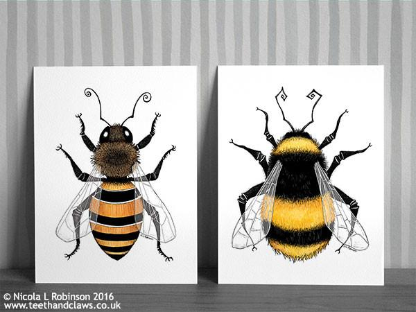 © Nicola L Robinson 2016 www.teethandclaws.co.uk Bee Art Prints Summer Decor