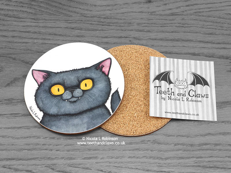 Cat Coaster - British Shorthair Cat Portrait © Nicola L Robinson | www.teethandclaws.co.uk