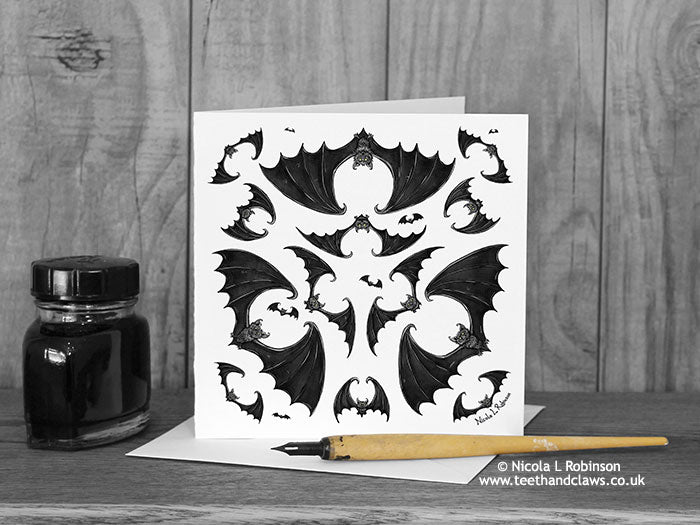 Gothic Bat Greeting Card - Geometric Bats - Three